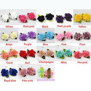 20Pcs-Small-Satin-Ribbon-Carnation-Flower-Appliques-craft-Wedding-sewing-Decor