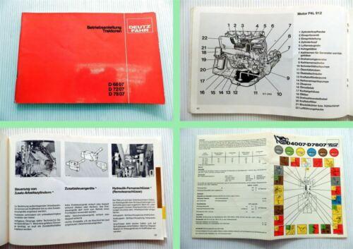 Deutz D 6807 D 7207 D 7807 Betriebsanleitung 1980 Wartung Bedienung