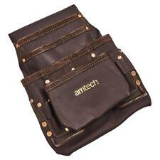 Am Tech 4 Pocket Heavy Duty Genuine Leather Tool Belt Pouch Electrician Plumber