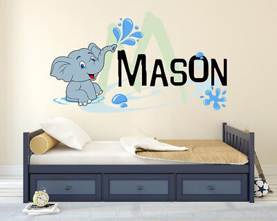 Personalised Name Intial Elephant Star Bedroom Wall Art Vinyl Decal Sticker V205