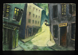 Marcel-Bathelet-of-Bourbon-L-039-Archambault-Drawing-Original-c1900-Town-La-Dark