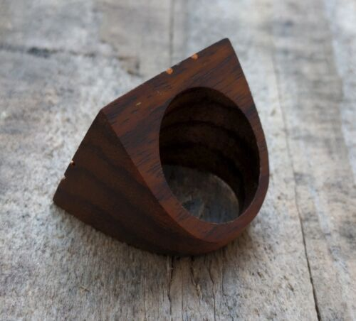 Wood Copper Handmade Unisex Abalone Shell Inlay Statement Ring Fashion US 6-8 US