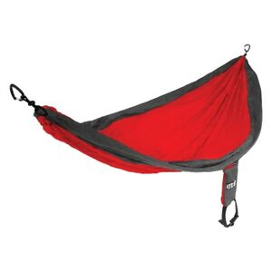 SUPER-SALE-50-Double-Parachute-Hammock-Hiking-DoubleNest-Gray-RED-CHARCOAL-NEW