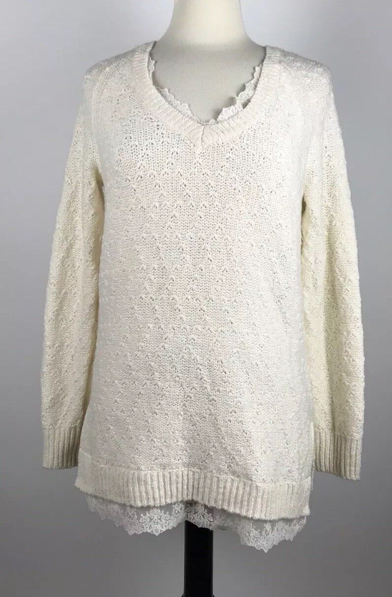 Anthropologie Knitted And Knotted Ivory Lace Betten Sweater Size Small