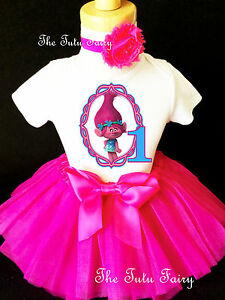 Image Is Loading Trolls Poppy Hot Pink Blue Girl Baby 1st