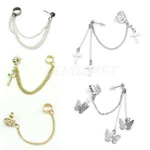 Fashion-Punk-Fringes-Chain-Dangling-Ear-Wrap-Cuff-Stud-Clip-Earrings-Goth-Rock