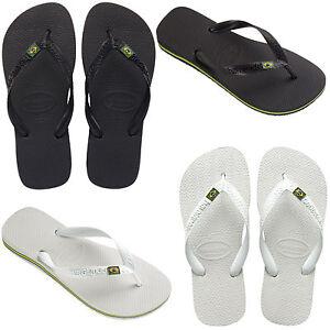 Havaianas-Brasil-Flip-Flop-Negro-Logo-Blanco-Playa-Tangas-Unisex-Sandalias-BNWT