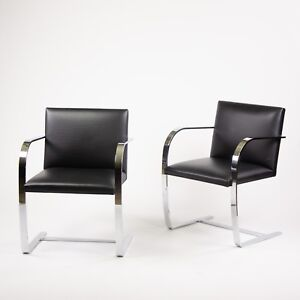 Stainless Knoll Mies Van Der Rohe Brno Chairs Black Leather Sets