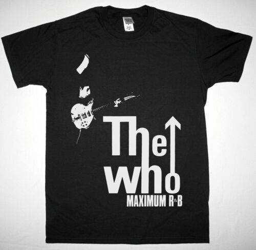 THE WHO MAXIMUM R/&B BLACK T SHIRT HARD ROCK PETE TOWNSHEND CREAM