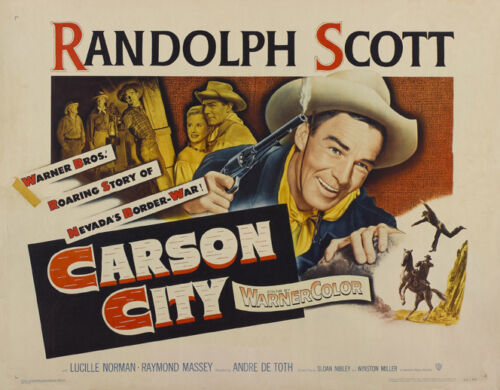 Carson City Randolph Scott western movie poster print