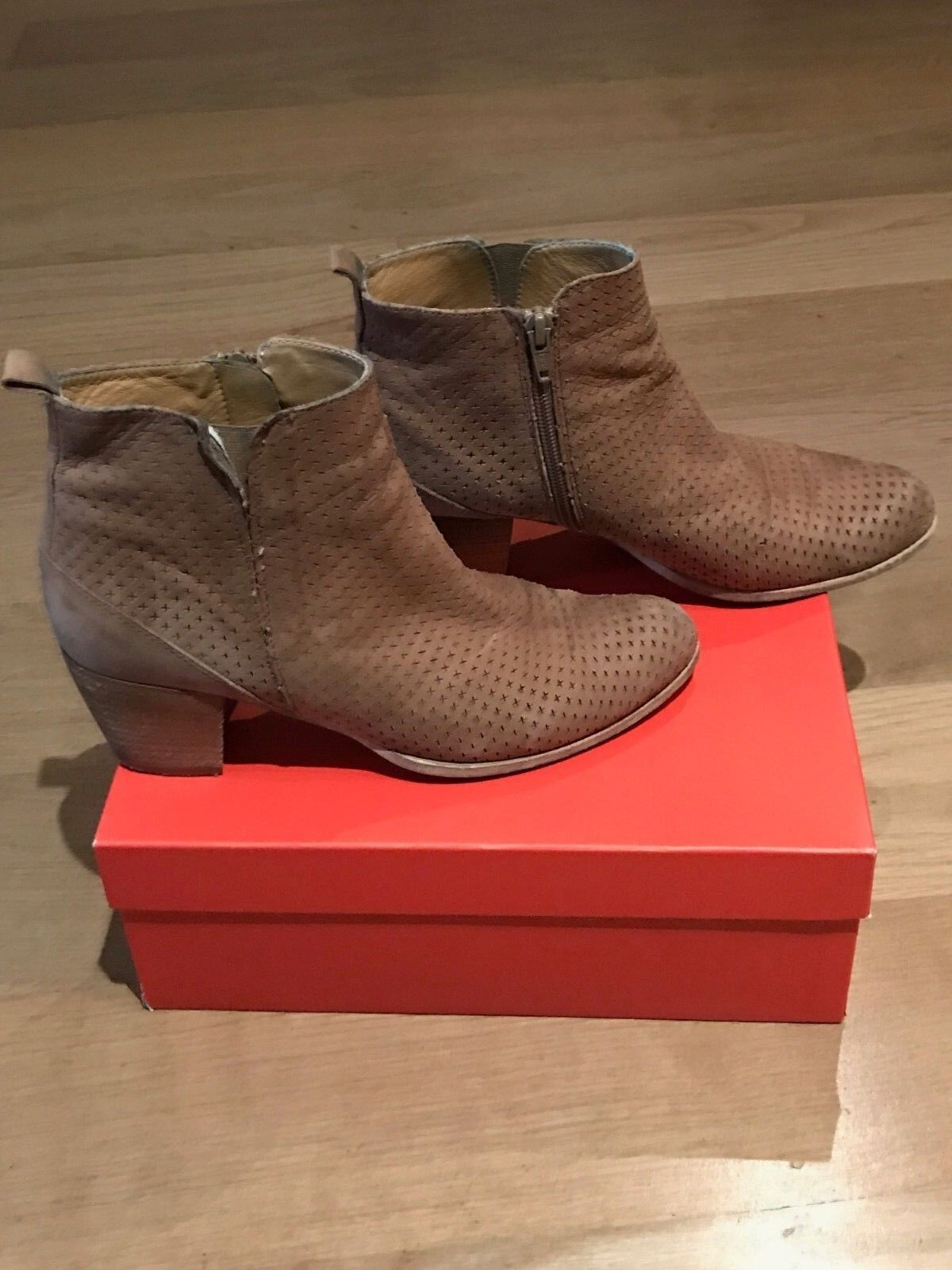 Damenschuhe EDWARD MELLER Schuhe DOROTHY GRANO BROWN LEATHER ANKLE BOOTS SIZE 37.5