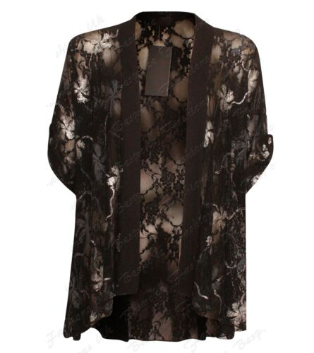 New Ladies Women/'s Plus Size Floral Lace Short Sleeve Open Cardigan Kimono Top