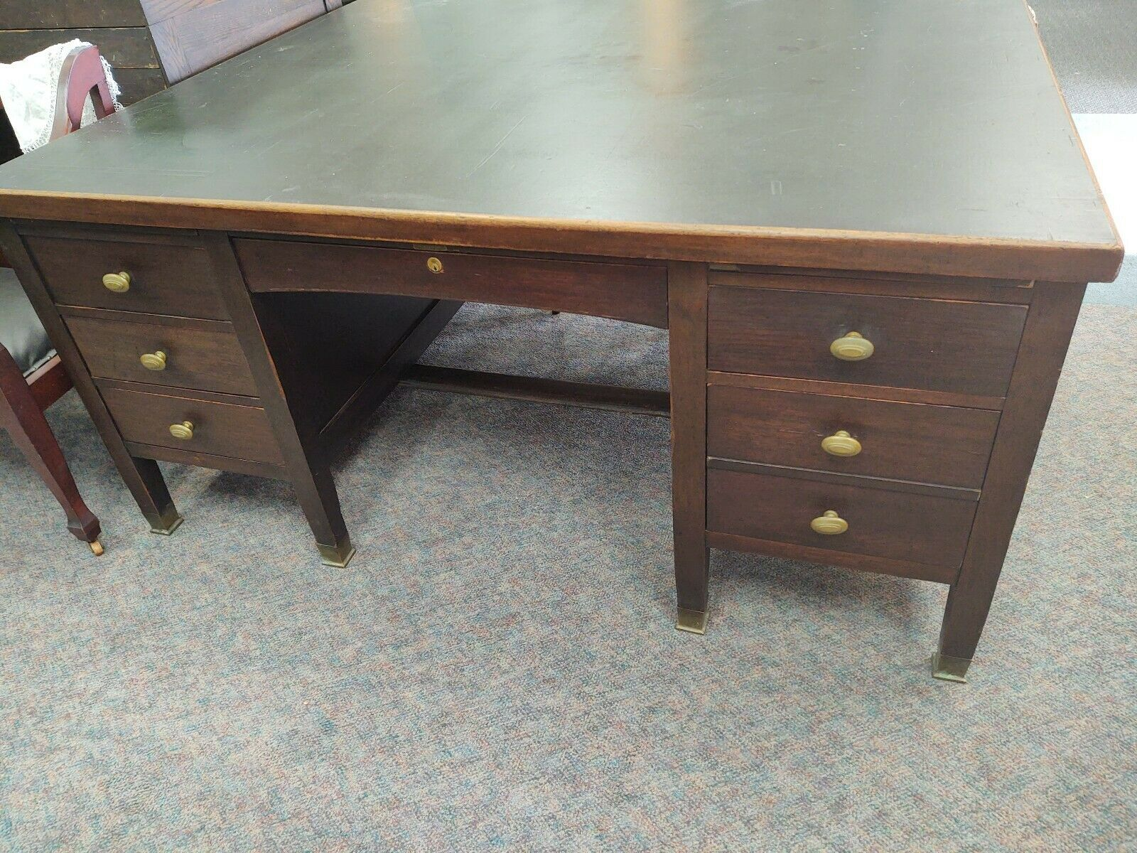 Antique 1920s Gunn Furniture Lino Top Partners Desk Ebay