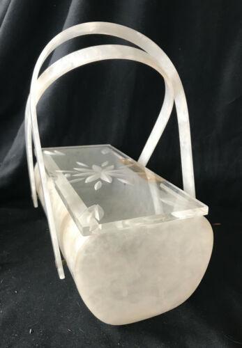 Vintage Lucite White Pearlized Handbag Purse w Car