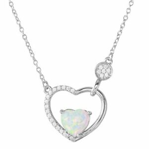 heart inside open heart necklace pendant w opal accents 925