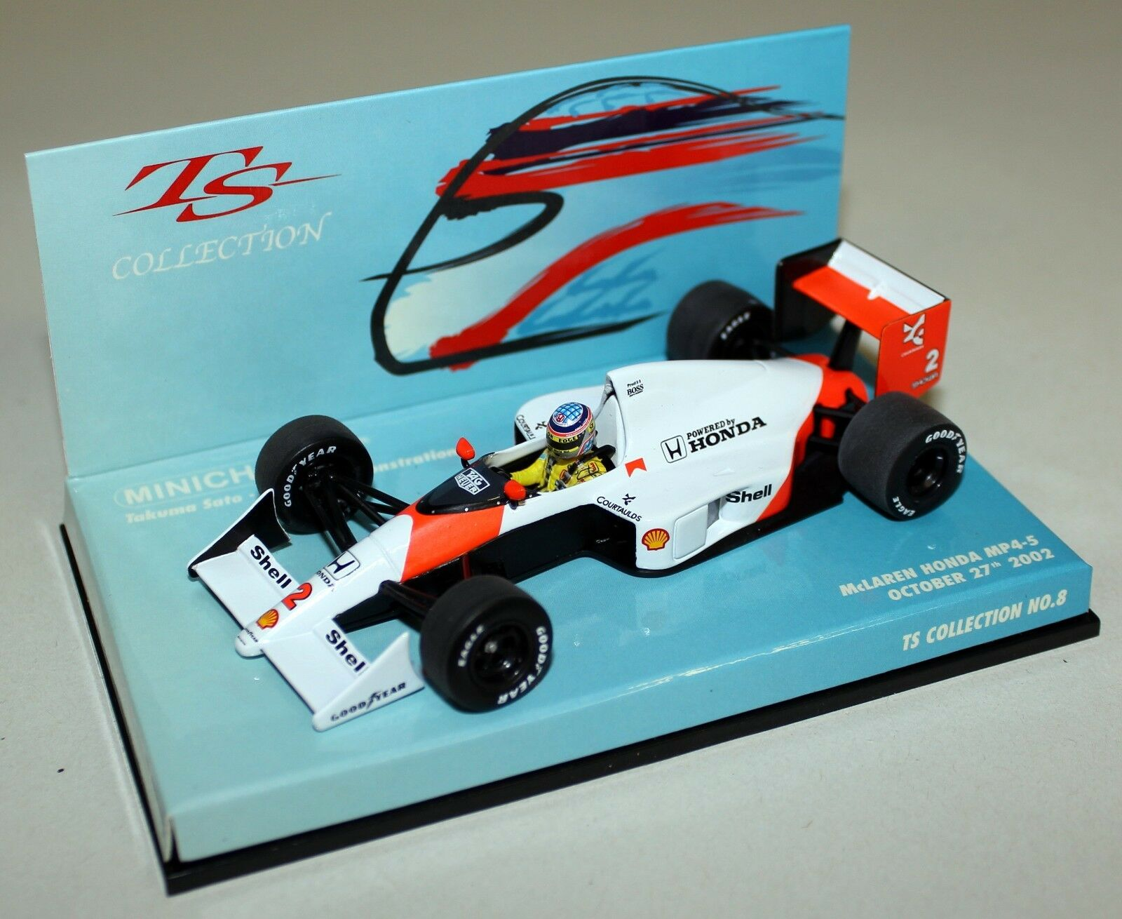 Minichamps 1 43 Scale 518 020102 McLaren Honda MP4-5 T. Sato Demo Diecast F1 Car