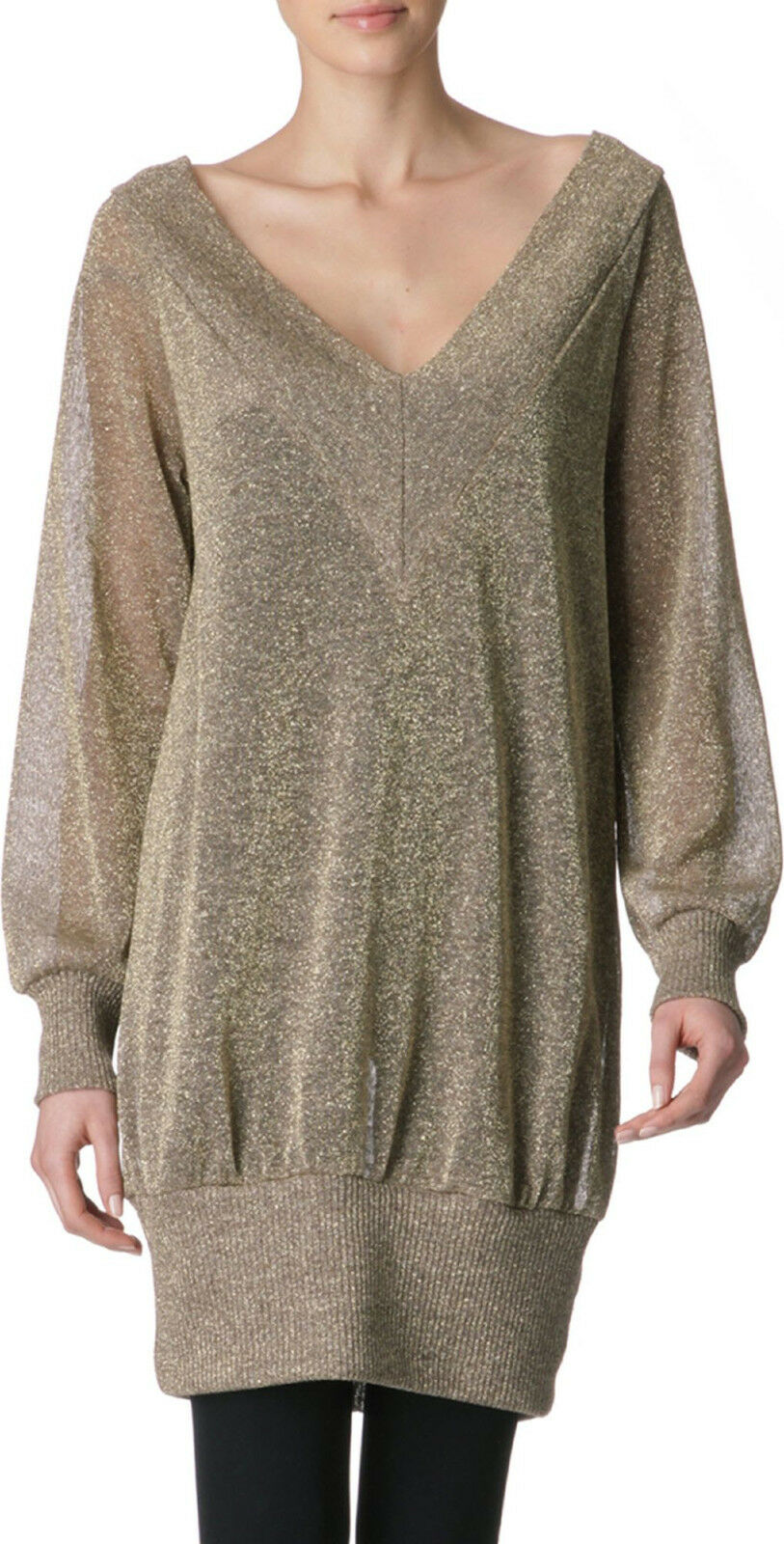VIVIENNE WESTWOOD ANGLOMANIA  Gold deep v-neck Agitator sweater dress M NEW
