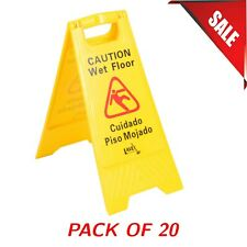 20 Pack Restaurant Caution Wet Floor Yellow 25 Folding Sign Commercial Safety