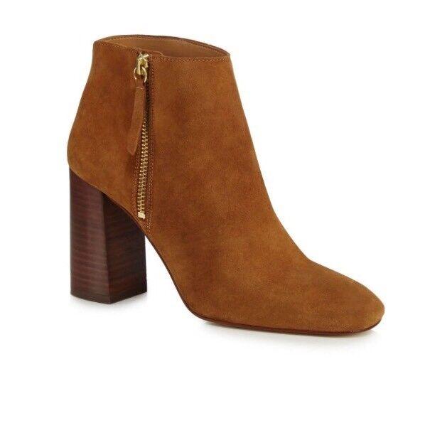 24# Faith Ankle Womens Tan Suede 'Base' High Block Heel Ankle Faith Boots Size 7 1122ad