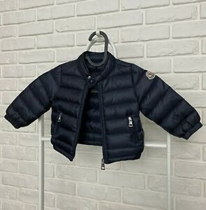 AUTHENTIC Kids MONCLER Baby Down Jacket Puffer Navy Blue Age 6-9 M 67cm