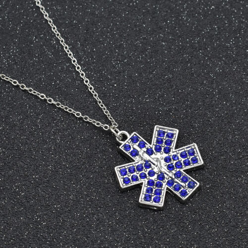 Disease Marker Necklace Women Chic Alloy Jewelry Accessory Charms Blue White