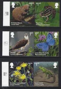 Grossbritannien-2018-Reintroduced-Arten-Set-Mit-Marginals-Nicht-Gefasst-Mint-MNH