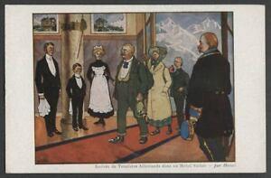 Artist-Signed-c-1914-French-Postcard-HANSI-Arrivee-de-Touristes-Allemands-dans