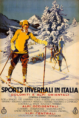 TRAVEL WINTER SPORT CORTINA D/'AMPEZZO SKIING SNOW ITALY VINTAGE POSTER 2571PY