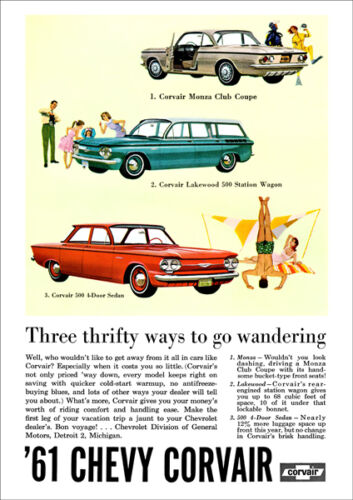 CHEVROLET 61 CORVAIR COUPE WAGON & SEDAN RETRO A3 POSTER PRINT FROM ADVERT 1961