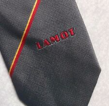 LAMOT COMPANY TIE VINTAGE 1980s ADVERTISING CORPORATE LOGO GREY STRIPED