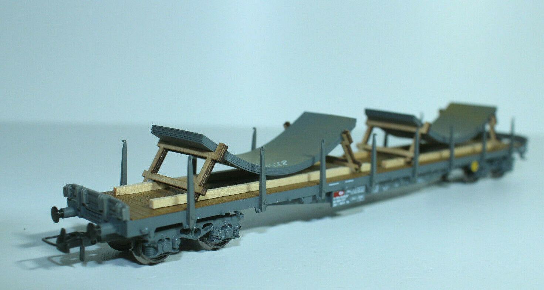 HAG 338 SBB Flachwagen, 4-achsig, mit zwei Blechsegmenten - mit OVP