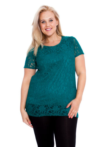 Womens New Top Ladies Plus Size Lace Lined Floral Short Sleeves Party Nouvelle