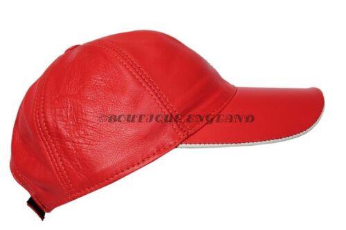 Baseball rouge//blanc pic lane unisexe véritable cuir souple hip-hop casquette