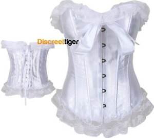 white corset top with lace trim burlesque bridal shaper