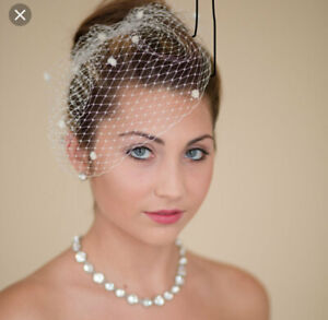 Brides-Ivory-birdcage-wedding-veil-6-034-Veil-is-attached-to-metal-comb-Spot-detail