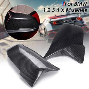 M3 Style Rearview Mirror Cover Cap Carbon Fiber Fits 13 18 Bmw F30