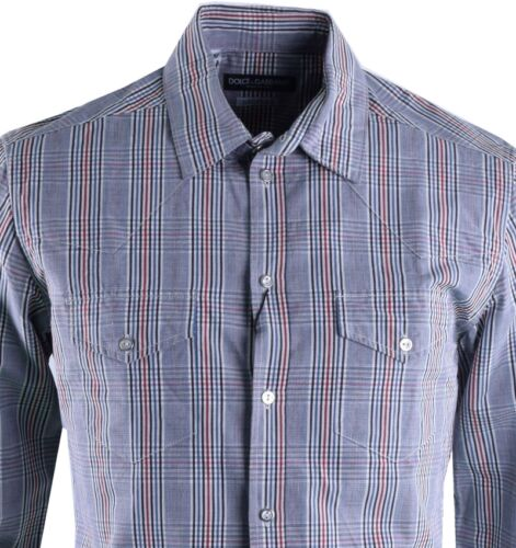 DOLCE & GABBANA SICILIA Checked Linen Cotton Shirt Grey 03723