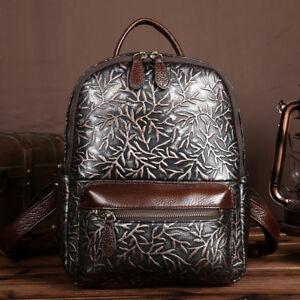 ada6780629 Image is loading 100-Genuine-Leather-Women-Backpack -Daypack-Vintage-Embossed-