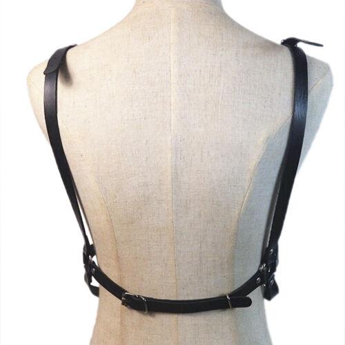 Frauen Leder Körper Brustgeschirr Käfig BH Kette Gürtel Gothic Kostüm Black CBL