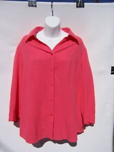 Coldwater-Creek-Women-s-Sleeve-Coral-Orange-Pink-Blouse-Size-1X