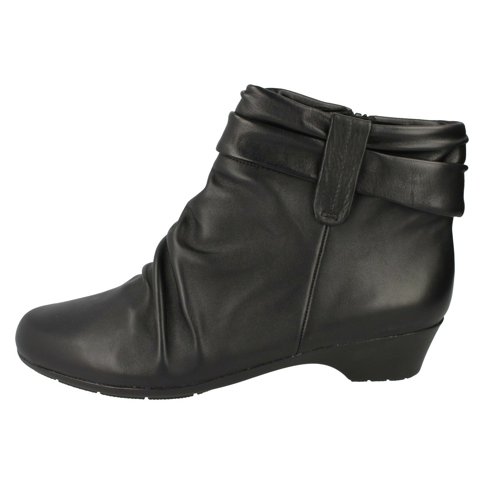 LADIES CLARKS RUCHED WIDE FIT SOFT LEATHER ZIP MATRON UP CASUAL ANKLE BOOTS MATRON ZIP ELLA 66b507