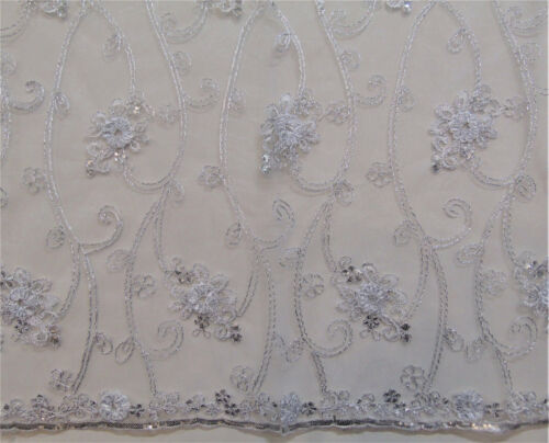 """Baccara White Tulle//Mesh Embroidery Rosette Sequins Metallic Stitching 50/"""" wide"""