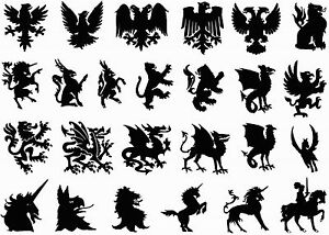 Heraldry-Lion-Eagle-Dragon-5-034-X7-034-Card-Black-Fused-Glass-Decals-16CC669