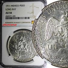 Mexico Silver 1911 Peso Caballito.NGC AU58 LONG RAY VARIETY  KM# 453