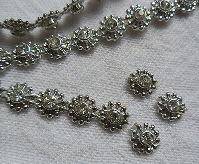 9mm Silver Bead Rhinestone Crystal Chain / Trims, Sew / Glue On -Per Yard-T581S
