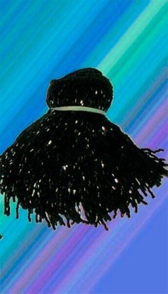 """BLACK GLASS BEADED BELLY DANCE FRINGE 40"""" x 4"""""""
