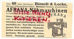 Biesolt & Locke Afrana Meissner-nähmaschinen-fabrik Praktisch Meissen Werbung 1911