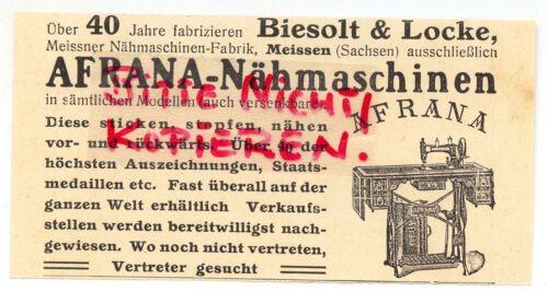MEISSEN, Werbung 1911, Biesolt & Locke AFRANA Meissner-Nähmaschinen-Fabrik