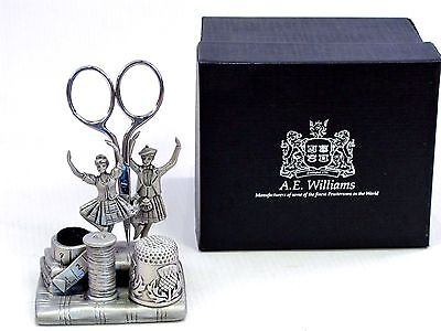 Scissors Scottish Dancers English Pewter Sewing Station Pin Cushion Thimble