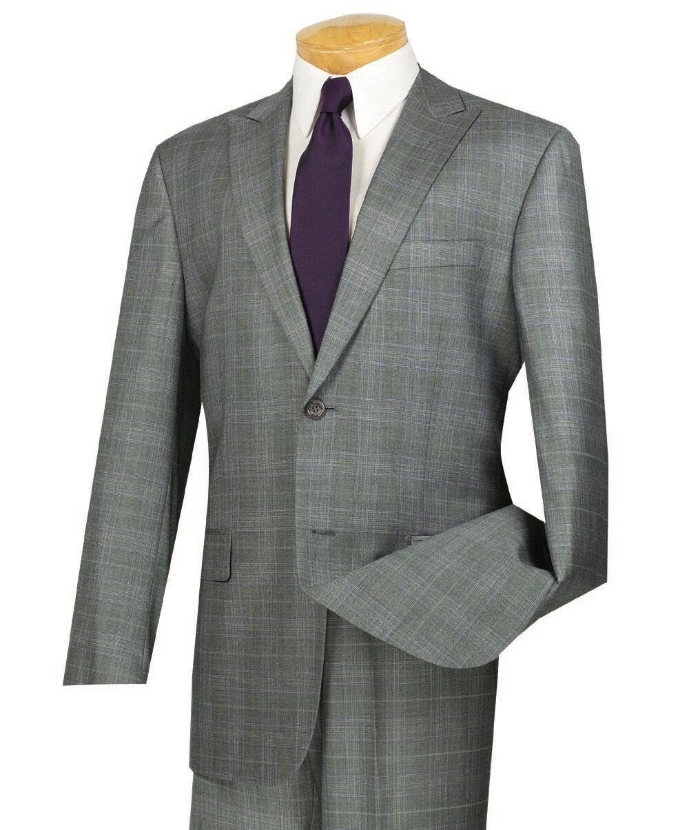 Vinci Uomo Gris Glen Plaid 2 Button Classic Fit Suit Suit Suit w/ Peak Lapel NEW e95c5c